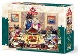 Feline Family Feast :: Art Puzzle