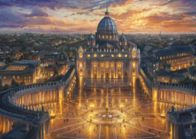 Thomas Kinkade 1000 - Vatican Sunset