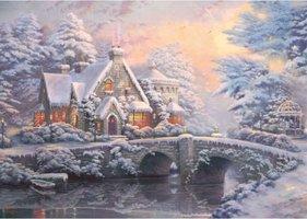 Thomas Kinkade 2 x 1000 - Lamplight Manour/Winter in Lamplight Manour