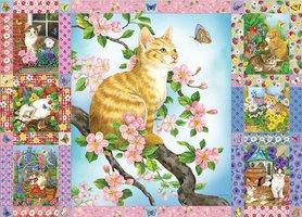 Cobble Hill 1000 - Blossoms and Kittens Quilt