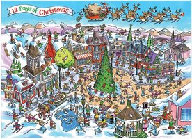 Cobble Hill 1000 - DoodleTown: 12 Days of Christmas