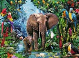 Ravensburger 150 (XXL) - Olifanten in de Jungle