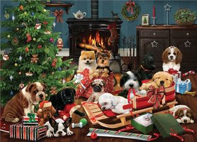 Cobble Hill 500 (XL) - Christmas Puppies