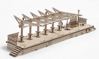 Ugears - Railway Platform / Trein Station modelbouwpakket