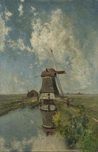 Een molen aan een poldervaart :: Constantin Gabriel