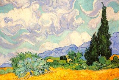 Korenveld met cipressen :: Vincent van Gogh